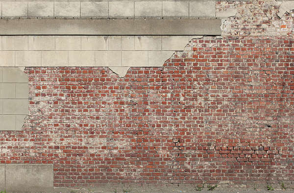 brick wall plaster large blocks old damaged