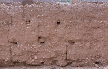 morocco loam wall mud plaster old medieval blocks worn eroded clay