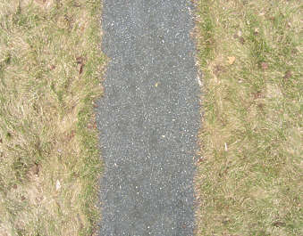 road path grass edge asphalt dirt