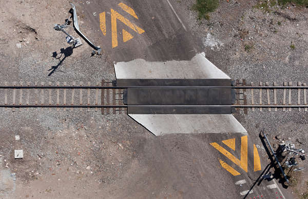 aerial road street railroad crossing railway