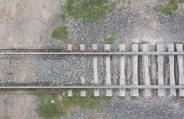 aerial ground terrain rails rail railroad train track tracks