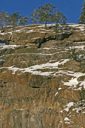 cliffs stone rock snow