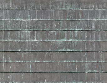 metal tiles rooftiles roof bronze copper clean bare corrosion corroded