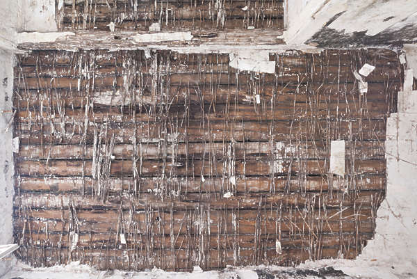 ceiling old weathered inside wooden damaged