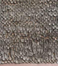 roof rooftiles shingles wood old worn damaged bare