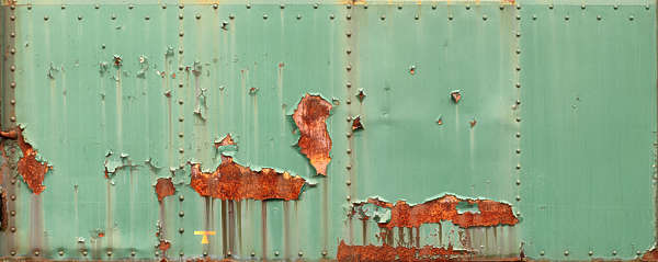 metal rust paint leaking train side