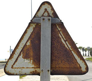 sign traffic back old rusted