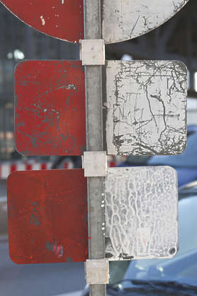 traffic sign backside weathered