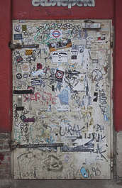 door grafitti stickers dirty