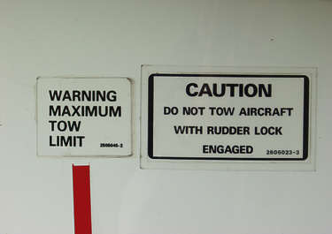 sign instruction sticker warning aircraft airplane