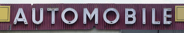 sign automobile metal old letters