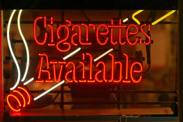 sign neon cigarettes available cigarette