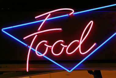 sign neon pink food