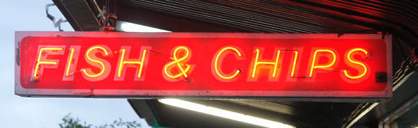 sign neon fish chips store