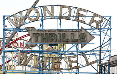 sign english new york NY US coney island neon ride wonder wheel