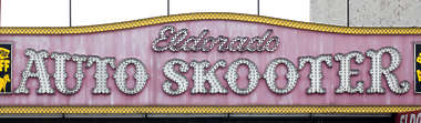 sign english new york NY US coney island neon auto skooter ride