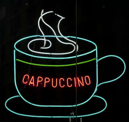sign english new york NY US neon coffe cappuccino