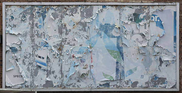 UK billboard advertisement sign worn paper torn weathered