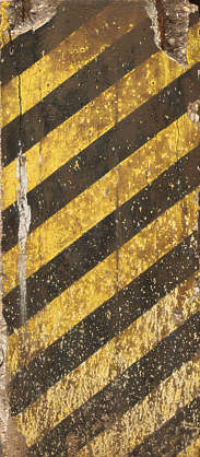 strips warning yellow black dirty old concrete