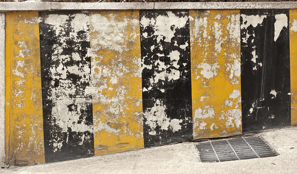 south korea stripes warning sign torn weathered painted