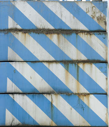 metal stripes rust seam leaking blue white warning stripe