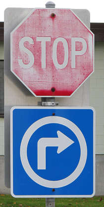 traffic sign stop arrow