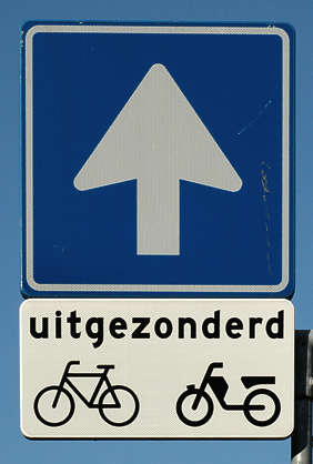 traffic sign arrow bicycle moped