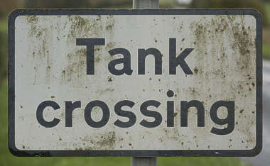 sign UK traffic warning tank crossing