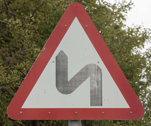 sign UK traffic turns warning