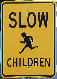 sign traffic english warning slow children
