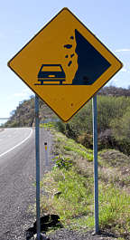 sign traffic warning falling rock