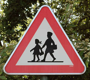 sign traffic crossing school children