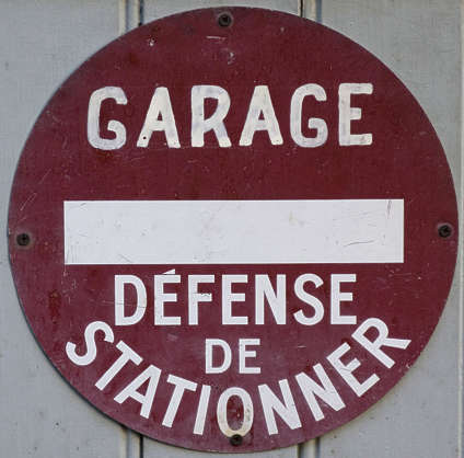 sign sortie garage french no parking traffic