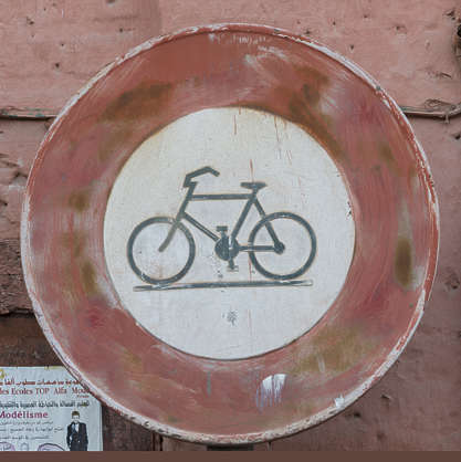 traffic sign old worn bicycle