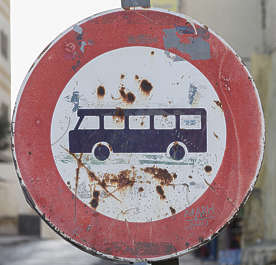 morocco sign old work bus traffic