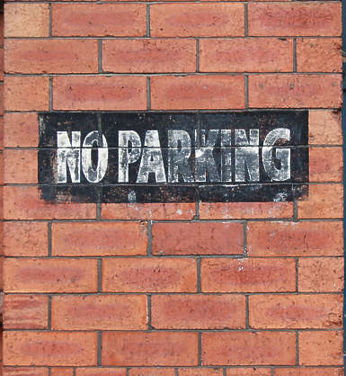 sign no parking paint