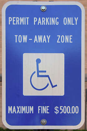sign parking permit disabled wheelchair traffic