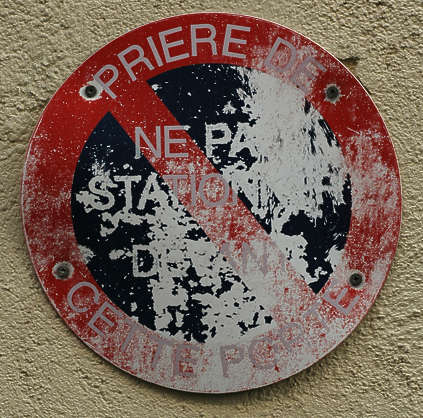 sign warning parking french old