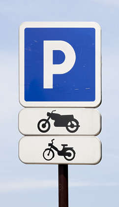 sign parking motorcycle moped traffic