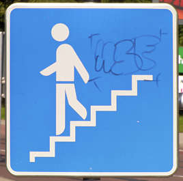 sign stair person