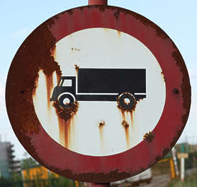 sign truck traffic old rust rusted