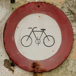 sign traffic biciycle old