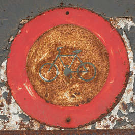 sign traffic biciycle old rust