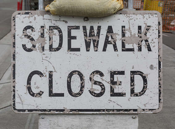 american usa seattle sign traffic sidewalk closed