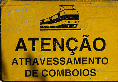 sign trains train warning