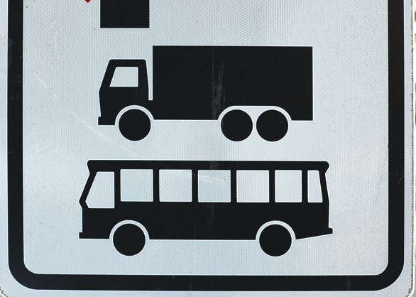 sign bus coach van truck traffic