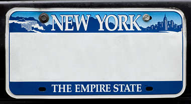 sign english new york NY US number plate