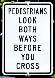 sign english new york NY US traffic pedestrians