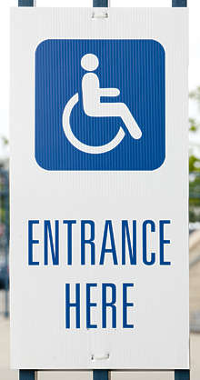 sign english new york NY US entrance disabled wheelchair