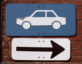 sign parking car arrow